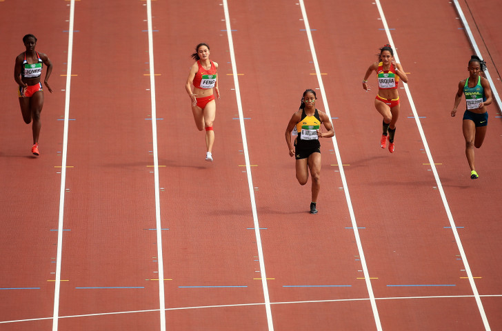 Sixteen-year-old Brianna Williams wins her 100m heat at the IAAF World Under-20 Championships in Tampere, Finland in the style that brought her unexpected gold later in the day ©Getty Images