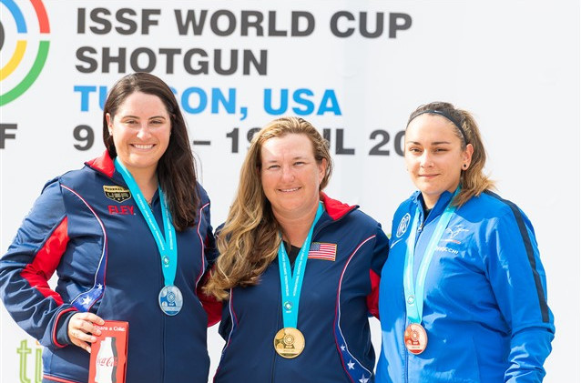 Kimberly Rhode won a shoot-off against her US colleague Caitlin Connor, left, to take gold in the ISSF World Cup women's skeet event in Tucson, Arizona, with bronze going to Lucie Anastassiou of France ©ISSF