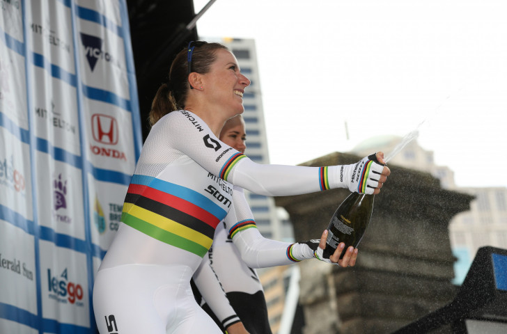 More champagne looks in the offing for Annemiek van Vleuten, the world time trial champion from The Netherlands, as she maintained her overall lead in the Giro Rosa today with two stages remaining ©Getty Images