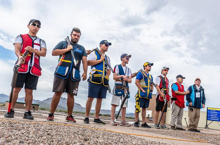 The field lines up before the men's skeet final at the ISSF World Cup in Tucson, Arizona ©ISSF