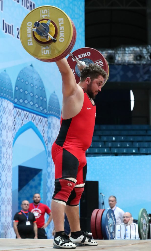 Georgia's Irakli Chkheidze secured a clean sweep of the men's 105kg gold medals ©IWF