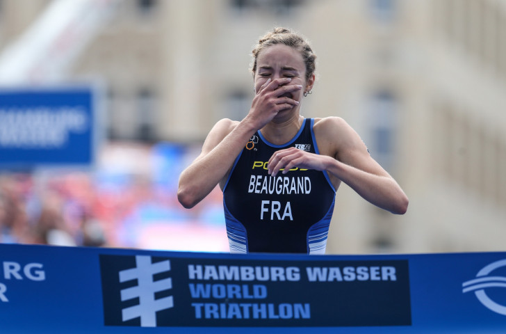 France's 21-year-old Cassandre Beaugrand is stunned to win the ITU World Triathlon Series race in Hamburg ©Getty Images
