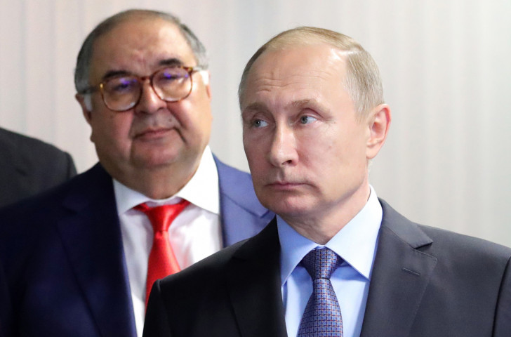 Alisher Usmanov and President Vladimir Putin pictured during a visit to a new Metalloinvest installation in Russia last year ©Getty Images