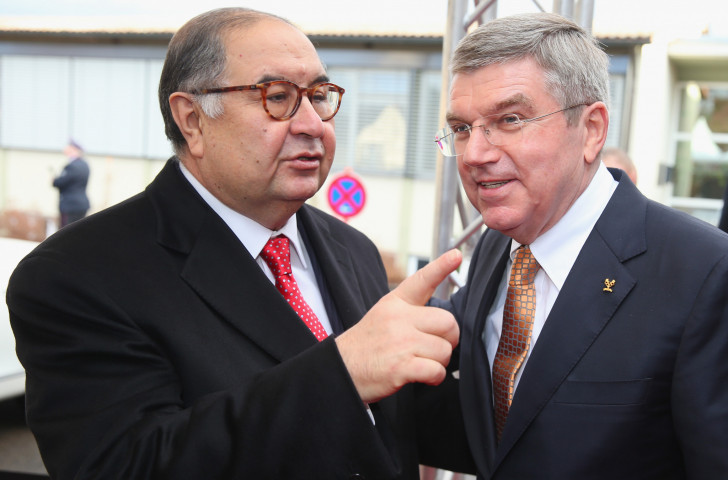 Alisher Usmanov, President of the International Fencing Federation, pictured with IOC President Thomas Bach in 2014 at an event to celebrate the latter's 60th birthday  ©Getty Images