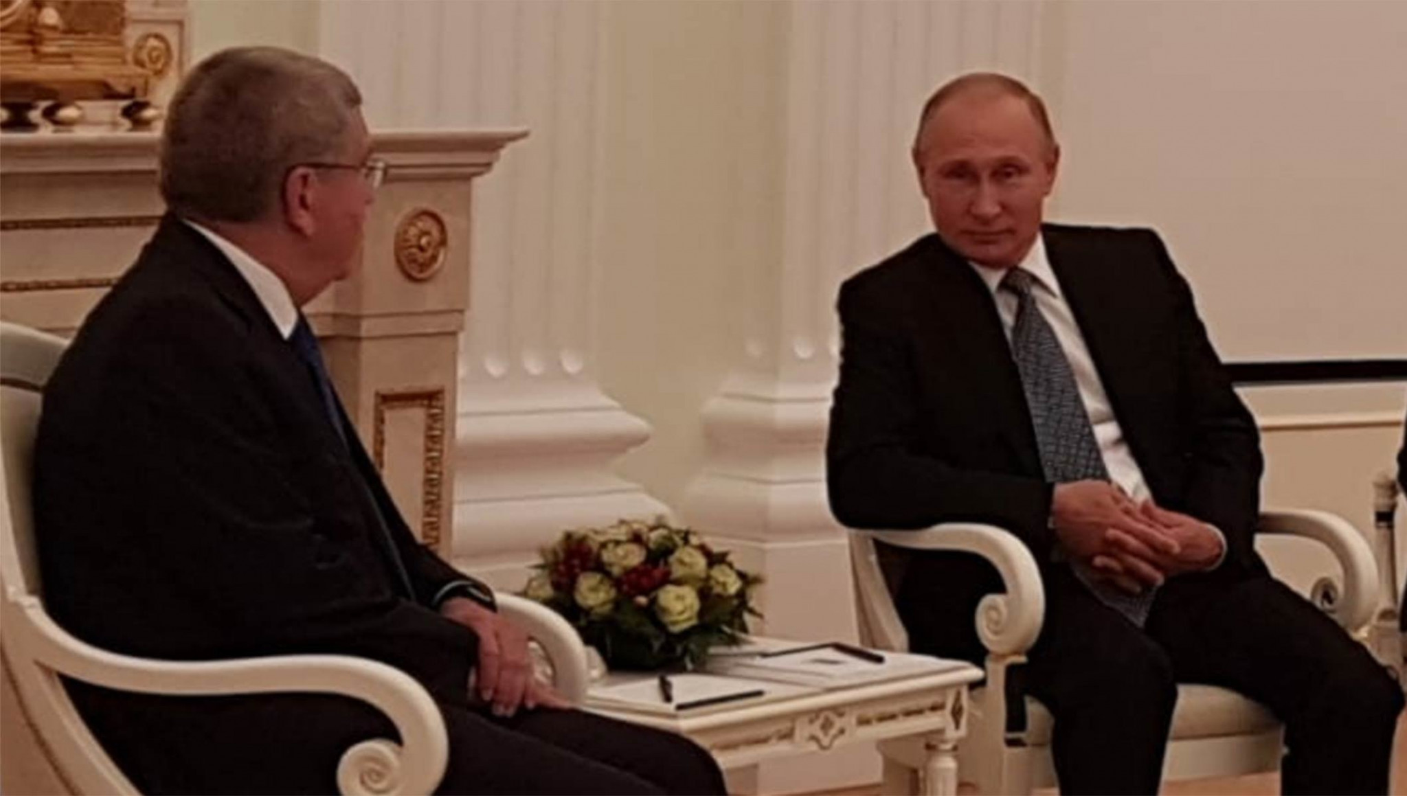 Russian President Vladimir Putin, seen here meeting Thomas Bach, has claimed myths about the country have collapsed during the FIFA World Cup ©Getty Images