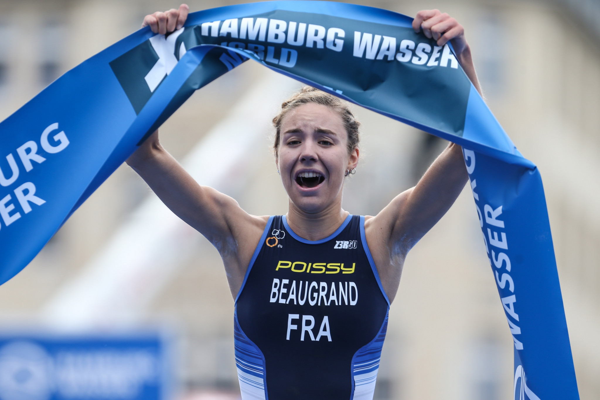 France's 21-year-old Cassandre Beaugrand, unexpected winner of Saturday's women's race at the ITU World Cup in Hamburg, earned a second gold today as part of the mixed relay team ©Getty Images