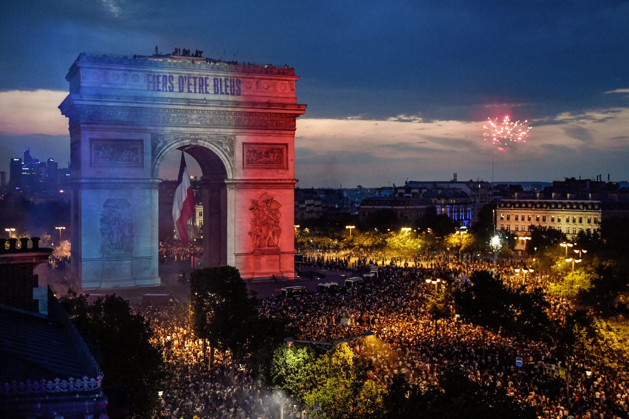 Celebrations began back in Paris following the triumph ©Getty Images