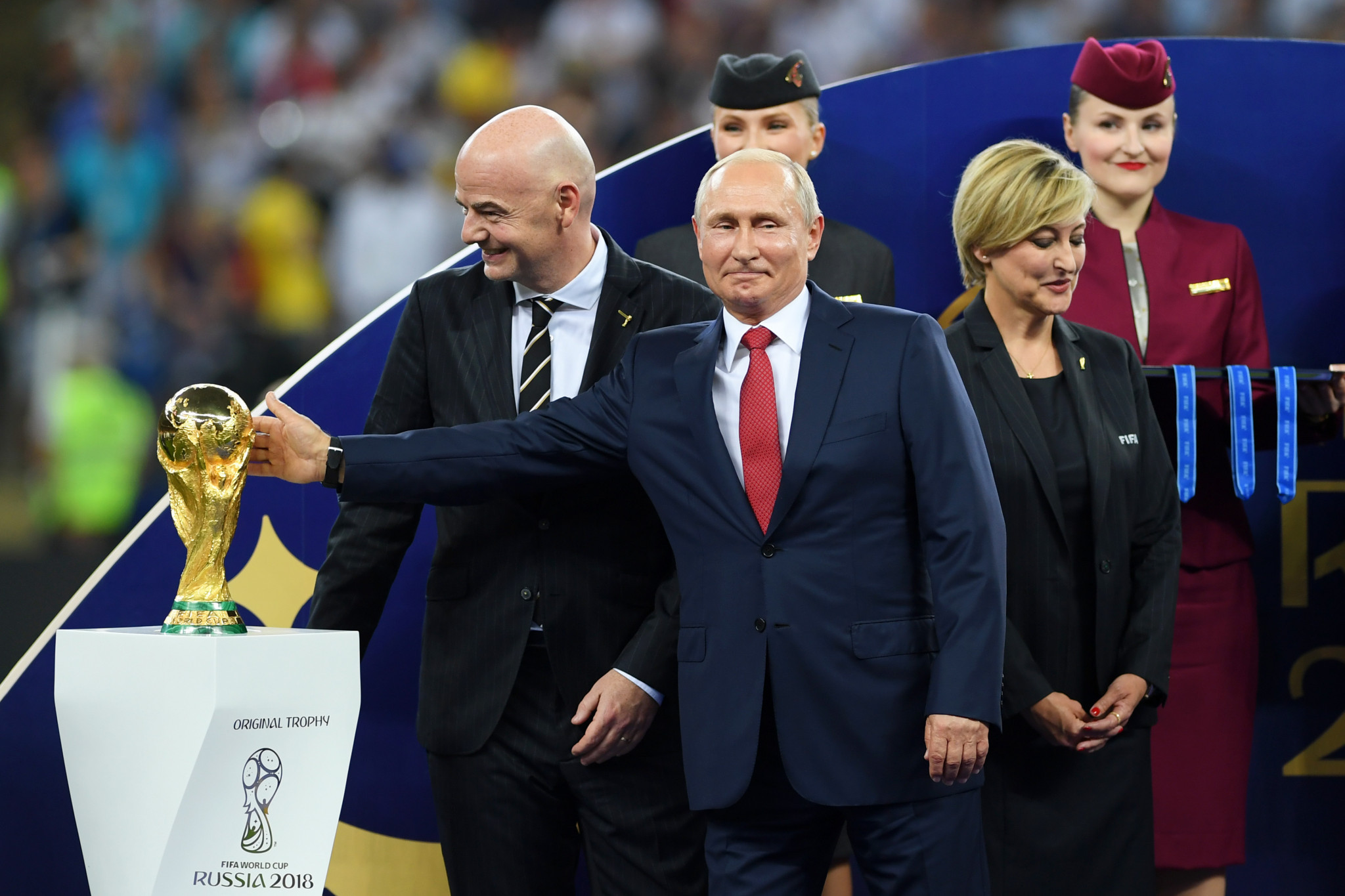 FIFA President Gianni Infantino, left, declared the World Cup in Russia as the