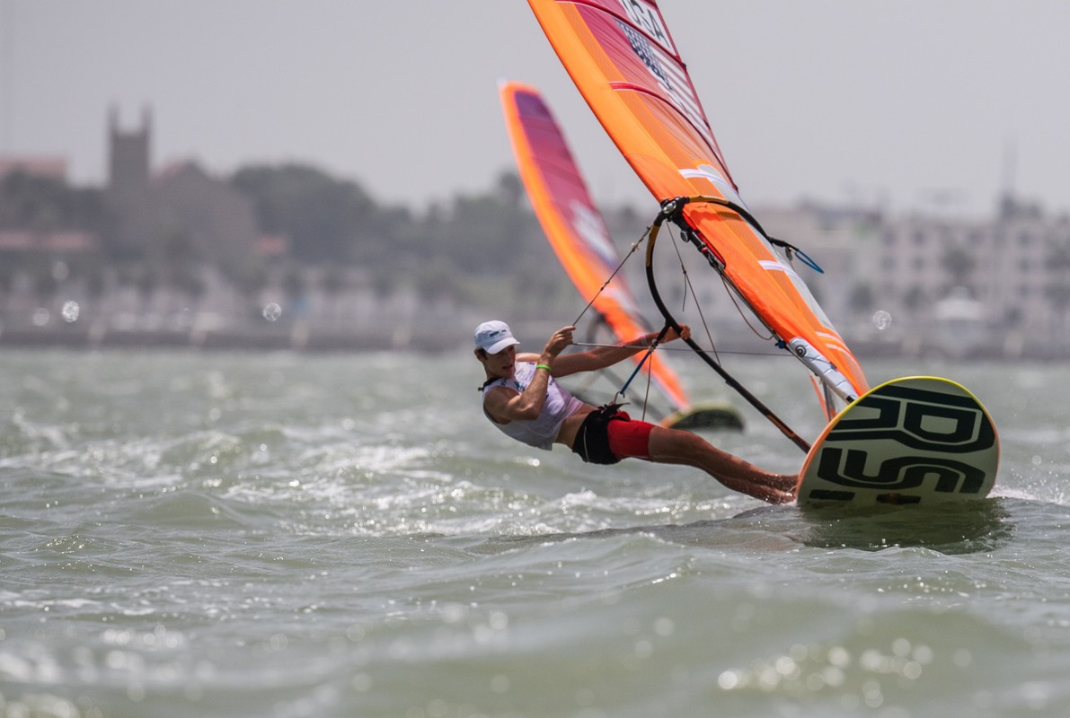 The United States lead in three class at the World Youth Sailing Championships, including the boys' RS:X, where Geronimo Nores won all three races today ©World Sailing