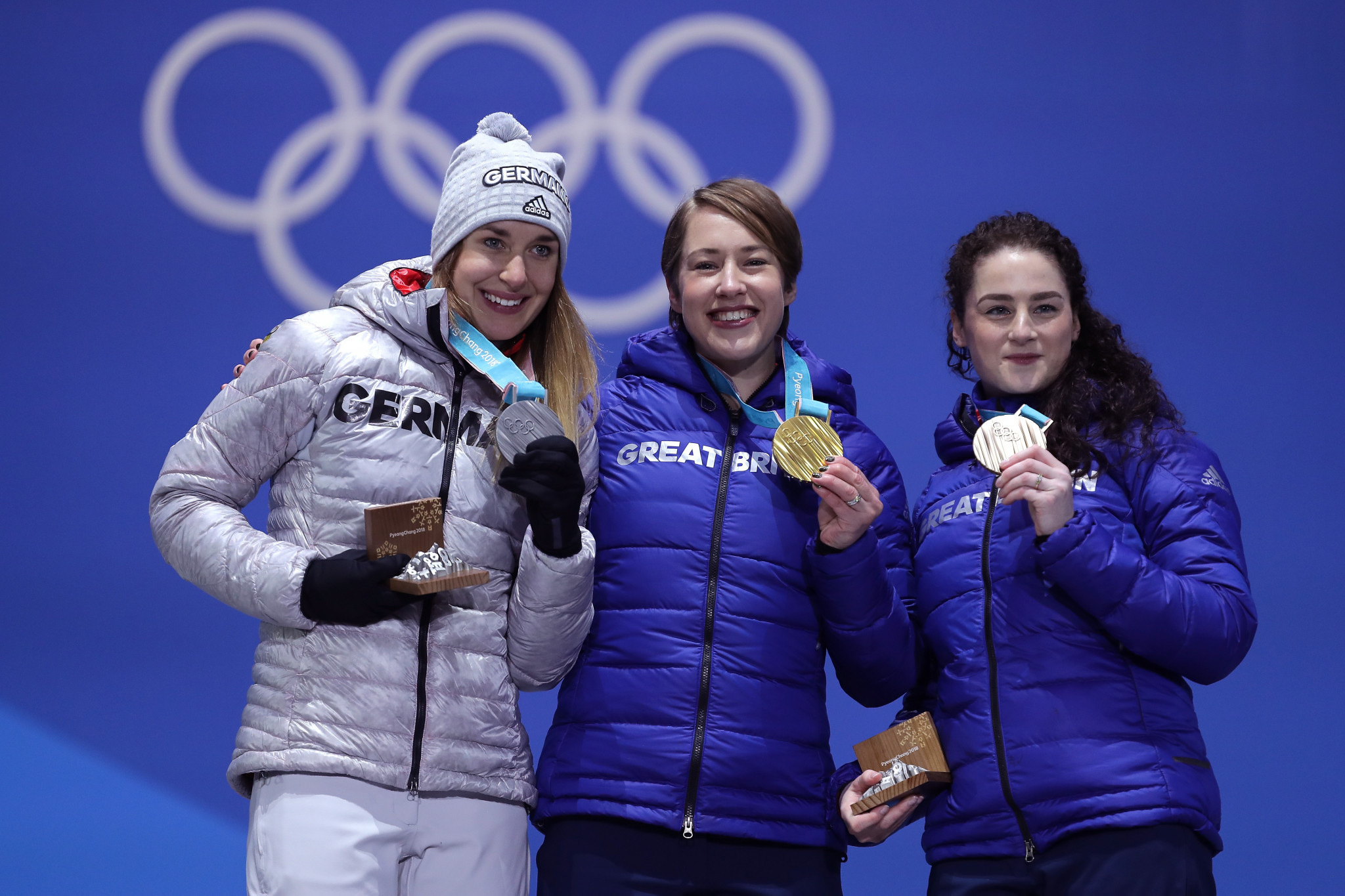 Mark Woods is credited with helping identify and develop the talent of Lizzy Yarnold, centre, and Laura Dees, right, who won gold and bronze respectively at the Pyeongchang 2018 Winter Olympics ©Getty Images