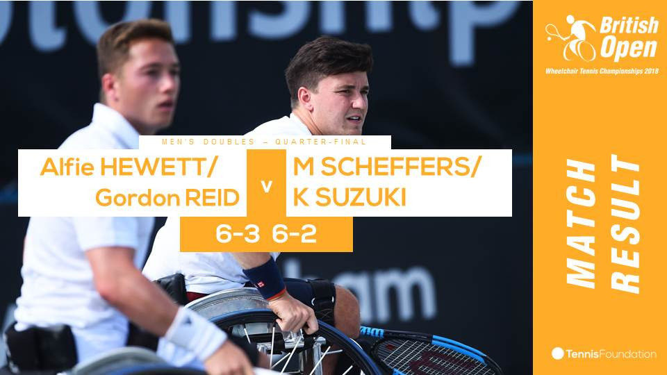 Britain's three-time Wimbledon champions Alfie Hewett and Gordon Reid finished today's play at the British Open Wheelchair Tennis Championships with a 6-3, 6-2 win in the men's doubles ©Twitter