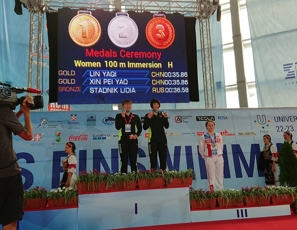Chinese duo share gold medal after dramatic race at World Finswimming Championships