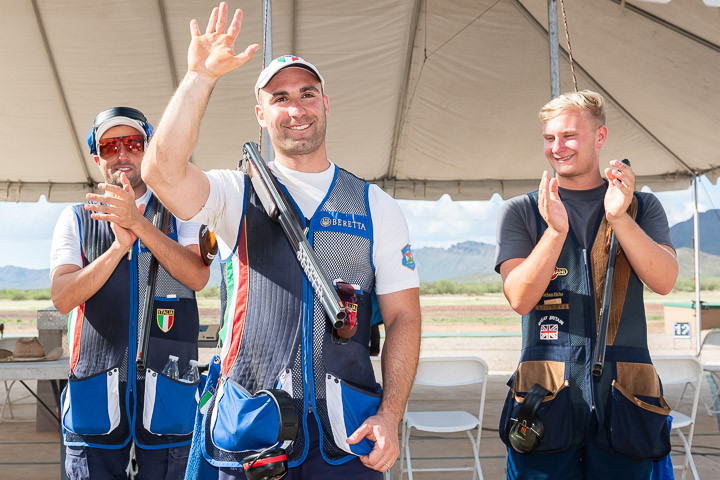 Simone Lorenzo Prosperi of Italy's decision to postpone his honeymoon to compete at the International Shooting Sport Federation World Cup in Tucson paid off as he claimed ©ISSF
