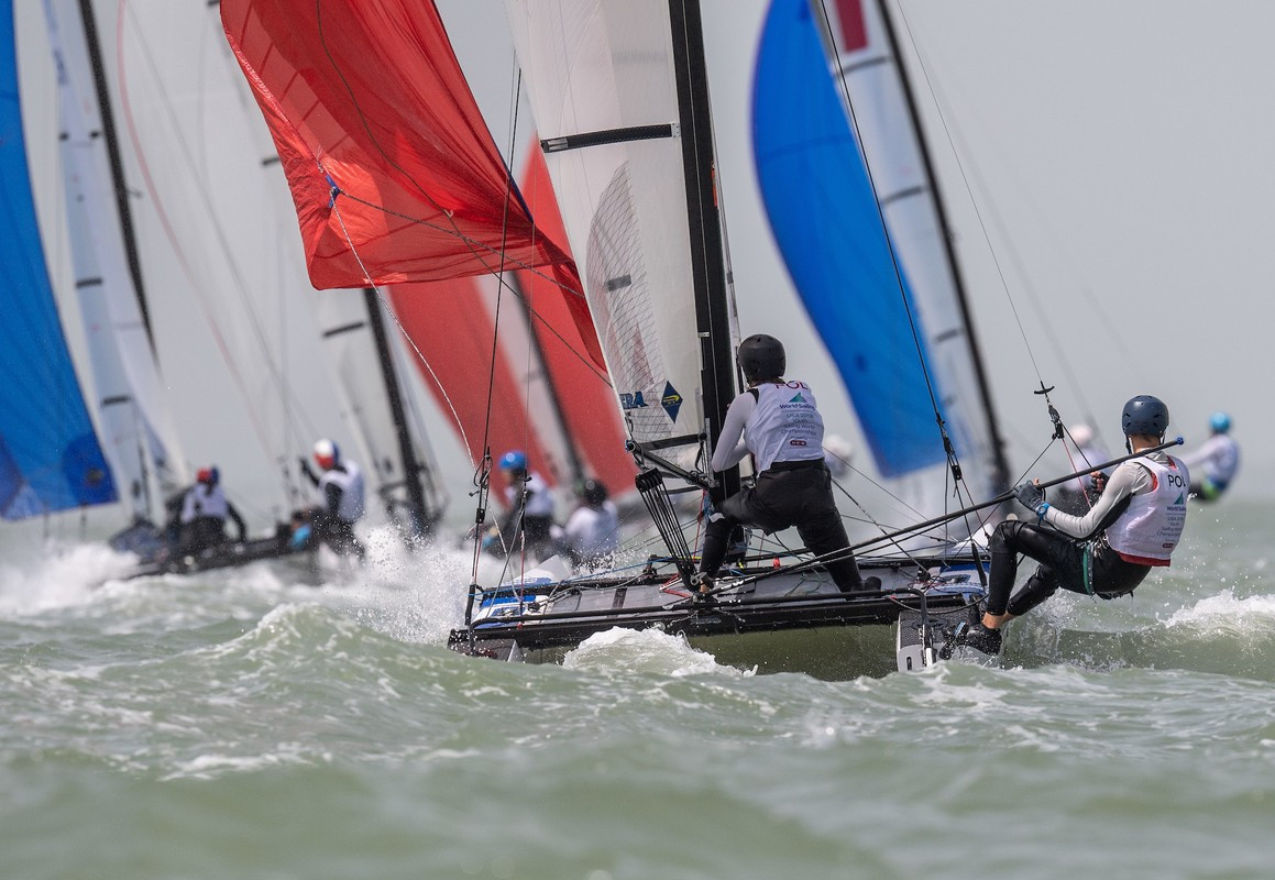 Argentina's Teresa Romairone and Dante Cittadini won all three races in the Nacra 15 class today ©World Sailing