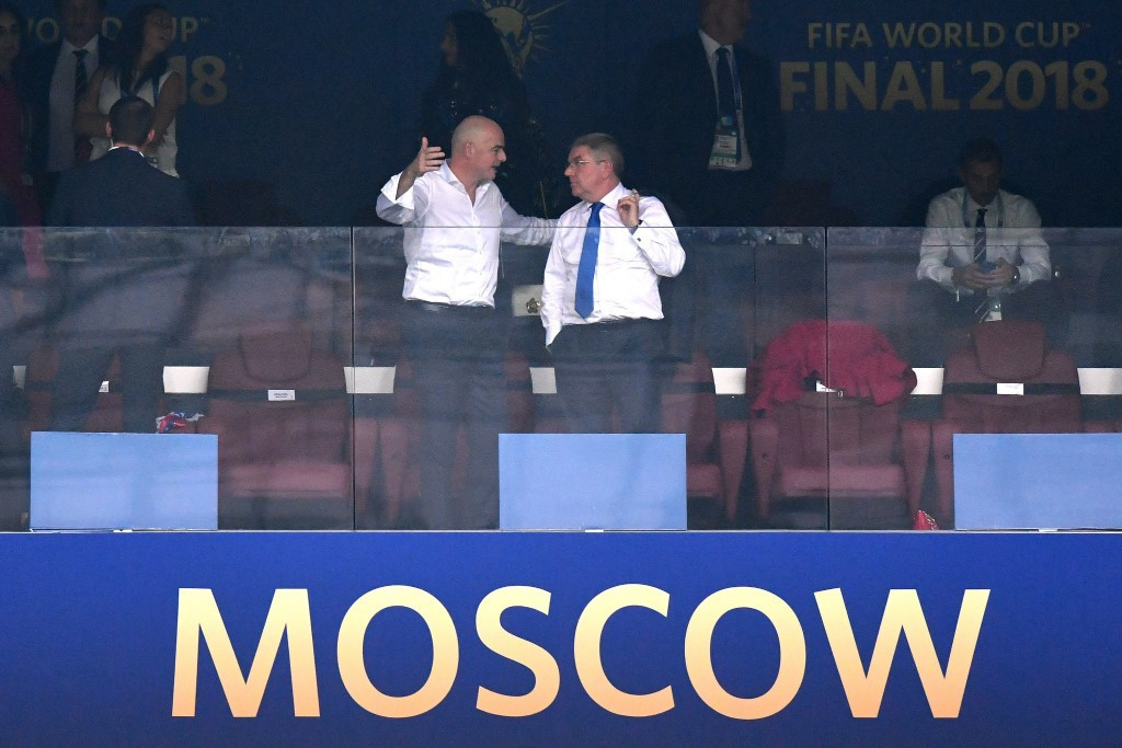Were Thomas Bach, right, and Gianni Infantino, left, chatting at the World Cup Final about the FIFA President becoming a member of the International Olympic Committee? ©Getty Images