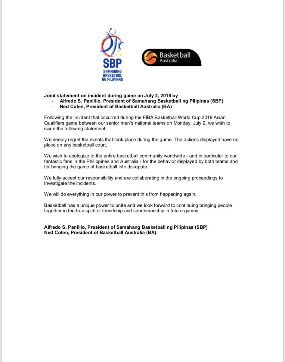 Basketball Australia and the Philippines Basketball Federation published a joint statement on July 5, apologising for the incident ©Twitter