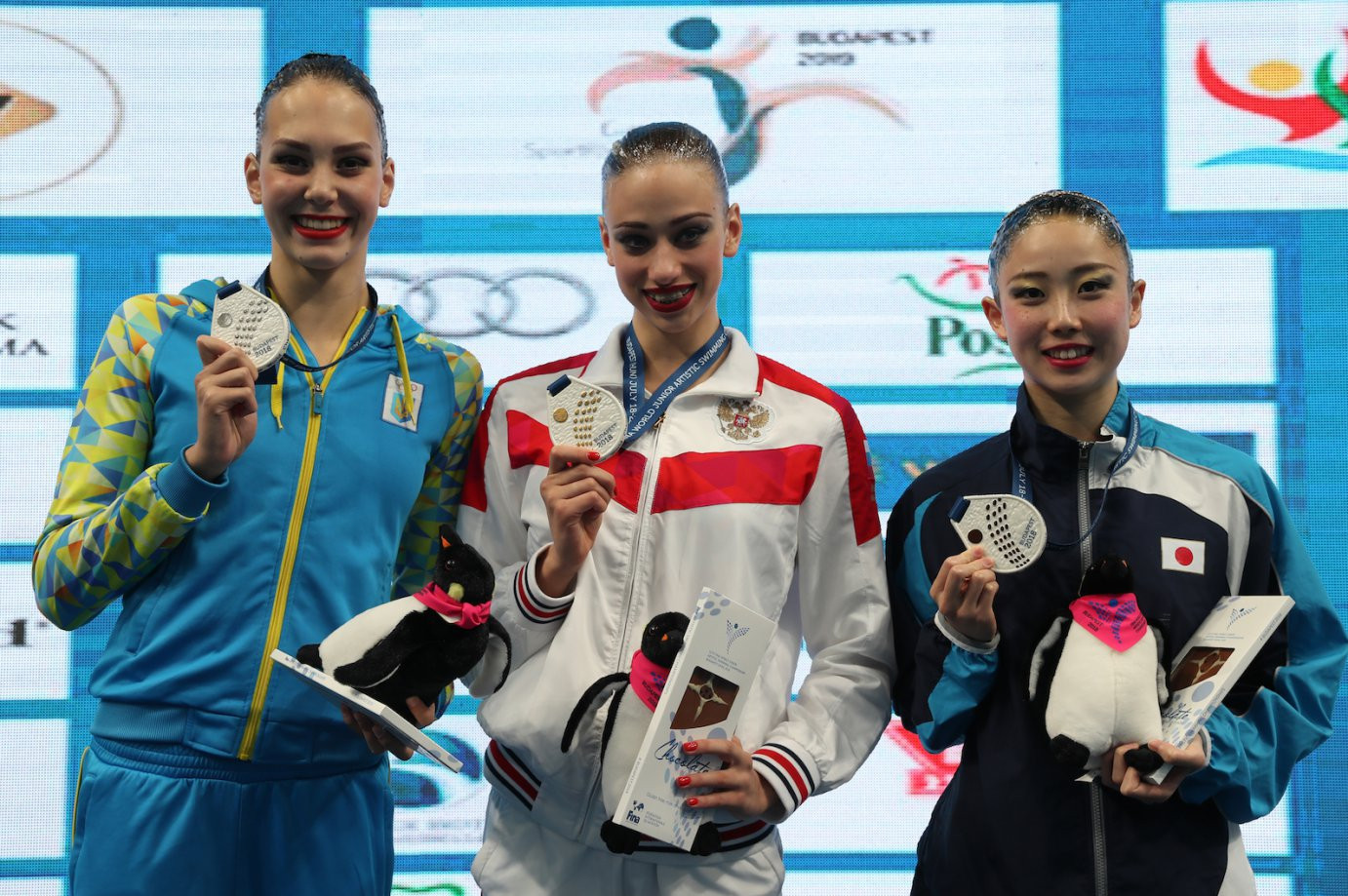 Russia's Varvara Subbotina, centre, won both golds on offer at the championships yesterday ©FINA