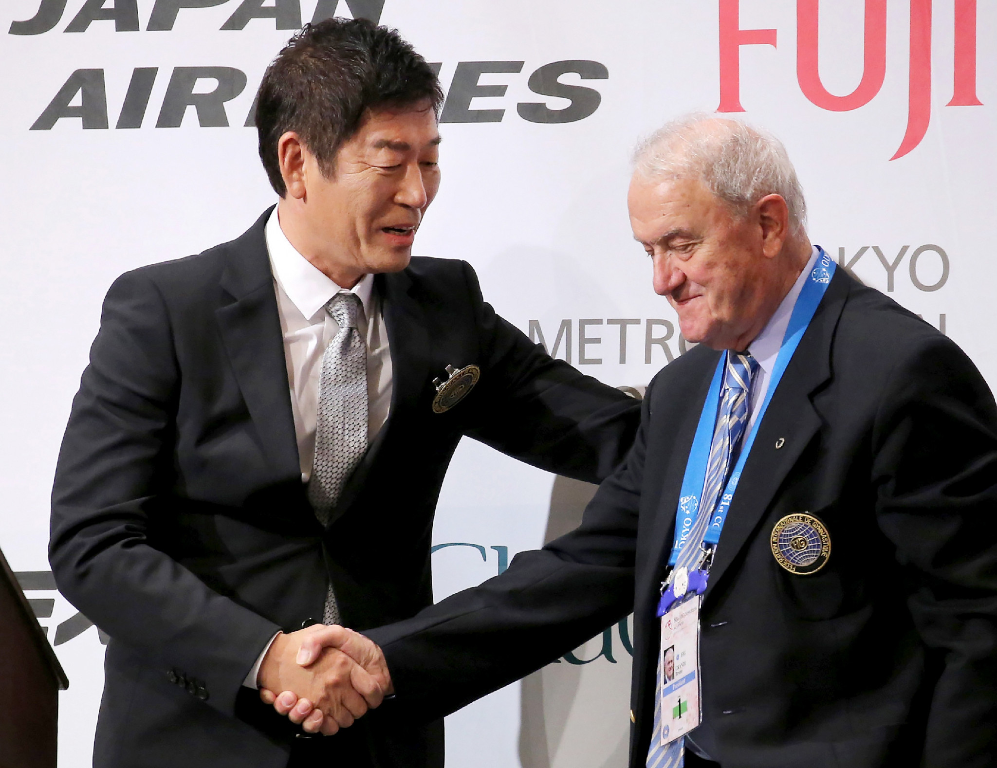Morinari Watanabe, left, is the first IOC member from FIG since Bruno Grandi, right ©Getty Images