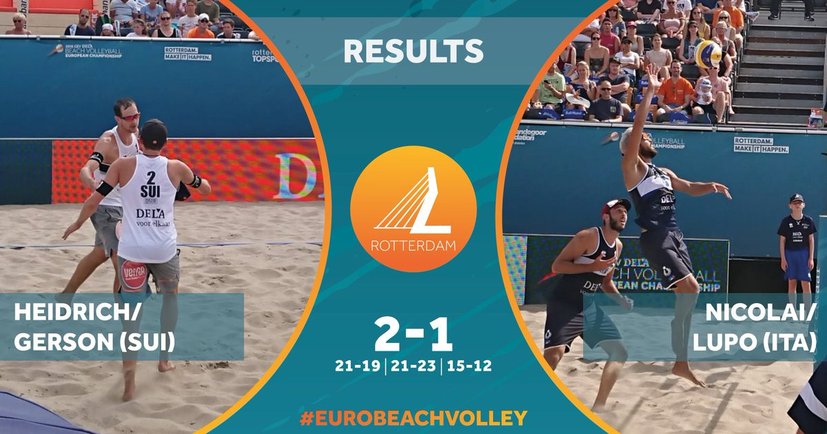 Top seeds Nicolai and Lupo crash out of European Beach Volleyball Championships