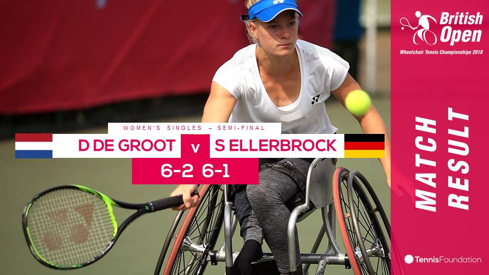 Diede de Groot comfortably won her semi-final 6-2, 6-1 to make the final of the women's singles  ©Twitter