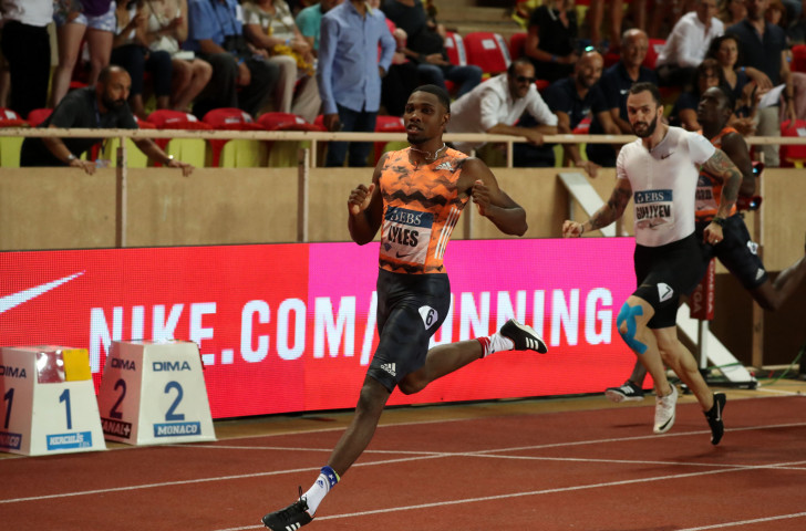 Noah Lyles lowered his personal 200m best to 19.65sec in winning at the Monaco Diamond League meeting ©Getty Images