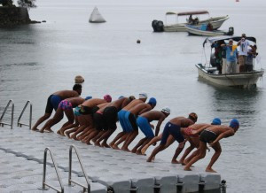 Open water swimming action continued today at the Micronesian Games in Yap ©Micronesian Games