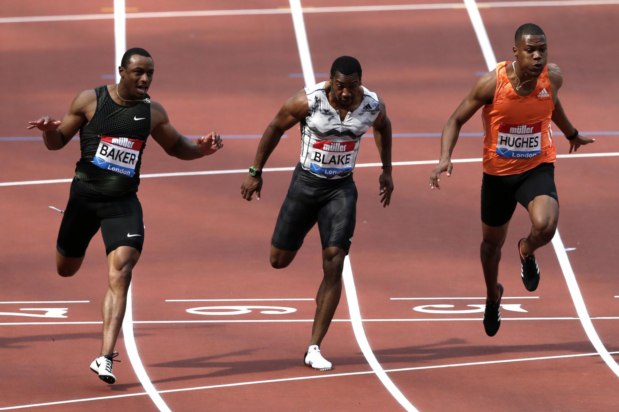 e35b35771a7cd Baker speeds to 9.90 100m win at IAAF London Diamond League meeting