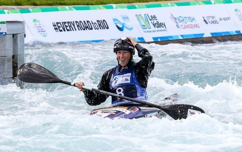 The Czech Republic's Kateřina Kudějová reacts to winning the women's K1 title