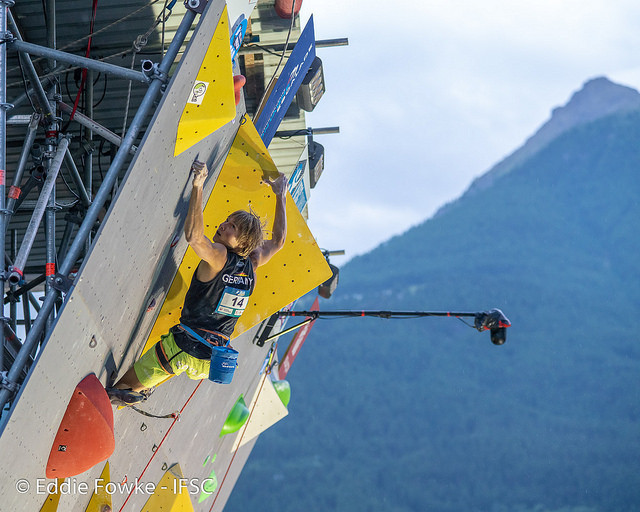 The 24-year-old German Alexander Megos has won his first IFSC World Cup gold medal in Briancon  ©IFSC