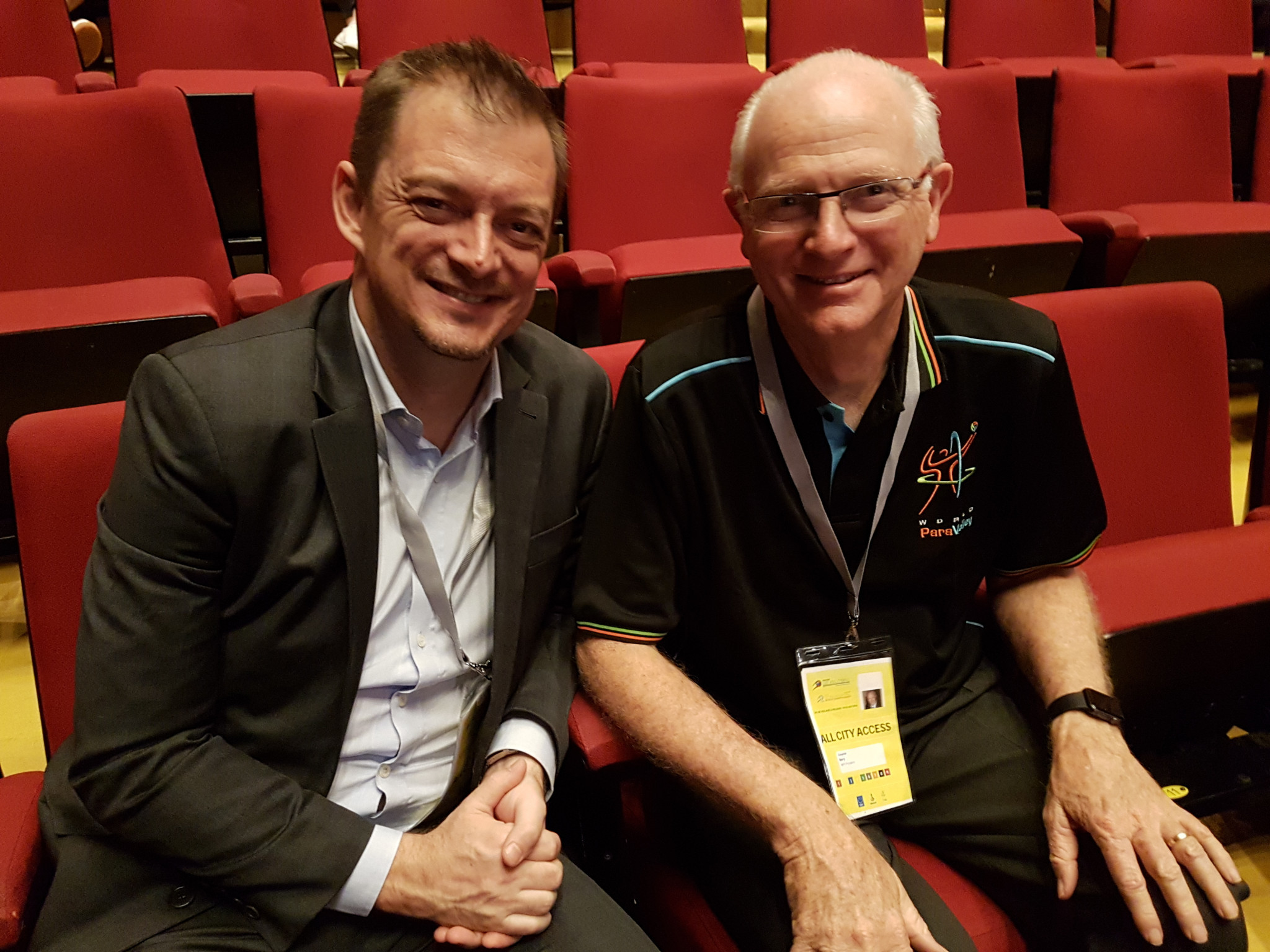 International Paralympic Committee President Andrew Parsons, left, held talks with World ParaVolley counterpart Barry Couzner, right, during the World ParaVolley Sitting Volleyball World Championships ©World ParaVolley