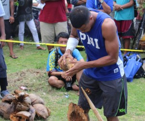 Coconut husking was the last event to take place today in the men's all round competition ©Micronesian Games