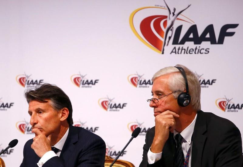 Rune Andersen, the Norwegian head of the IAAF Taskforce, right, is expected to tell the ruling Council led by Sebastian Coe, left, that Russia should not be readmitted to international competition ©Getty Images