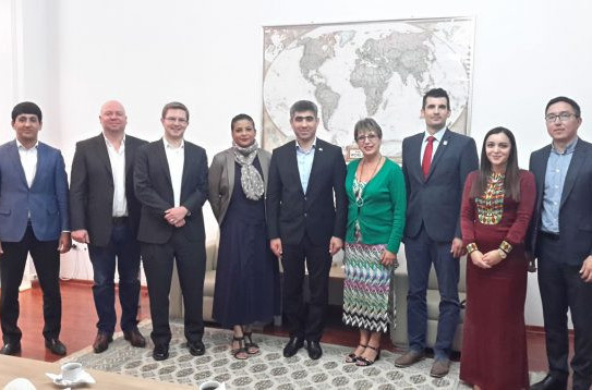 An IWF delegation which visited Ashgabat last month ©IWF