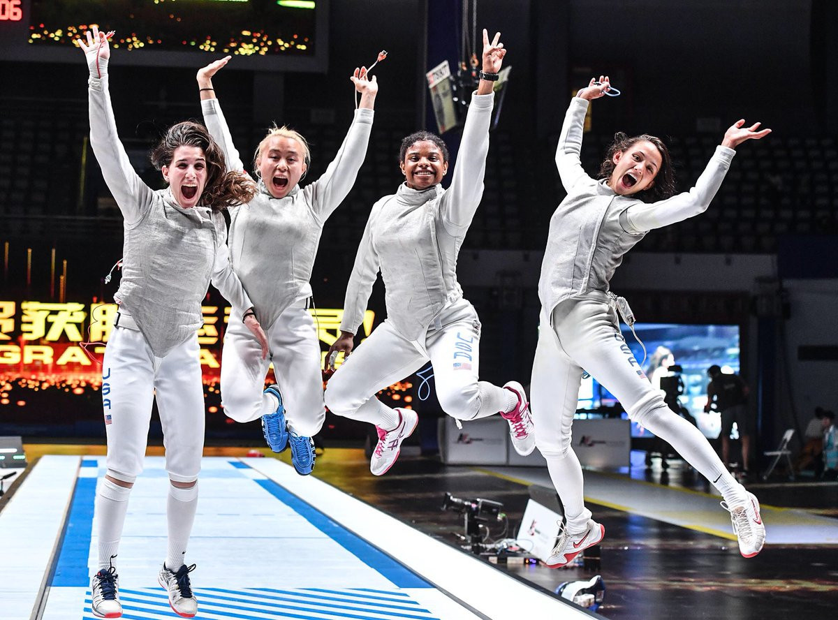 The United States' have won their first gold medal in the women's team foil at the FIE World Championships in Wuxi ©Twitter/FIE