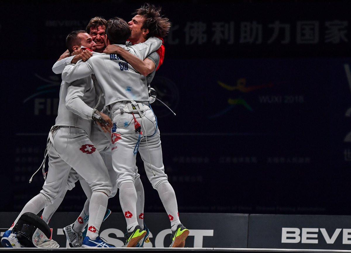 Switzerland won their first World Championship gold medal in the men's team  épée in Wuxi ©Twitter/FIE