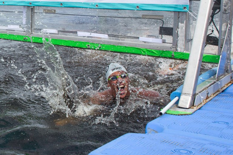 After 10km of swimming, Marcel Schouten won the men's race by just one second ©FINA