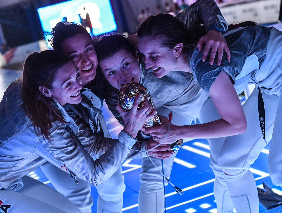France's women took gold in the team sabre event, having won the bronze in 2017 ©FIE