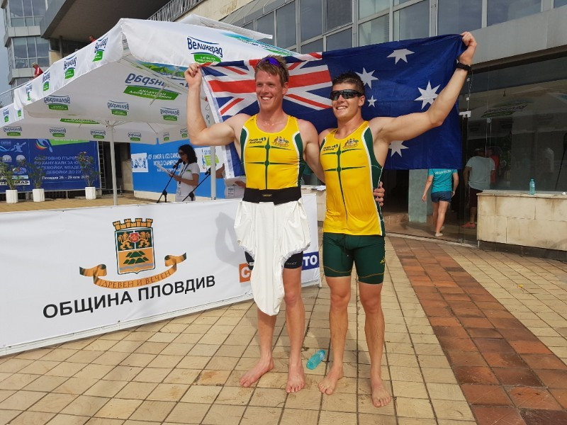 Joel McKitterick and Thomas Green dominated the men's under-23 K2 1,000m to seal Australia's only gold today ©ICF