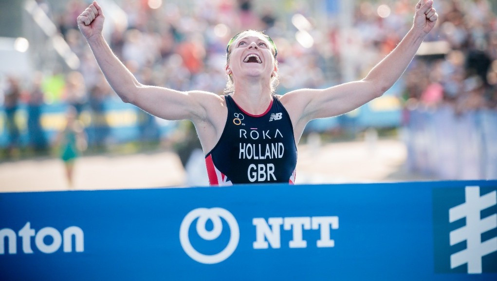 Vicky Holland from Great Britain led from start to finish to claim her second win of the season ©ITU