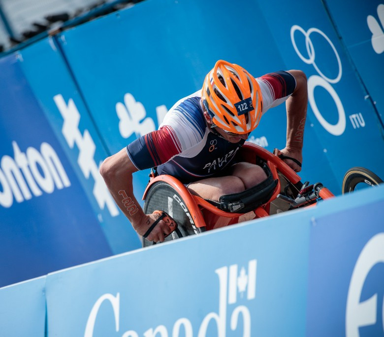The men's PTWC wheelchair race was won by Alexandre Paviza from France ©ITU