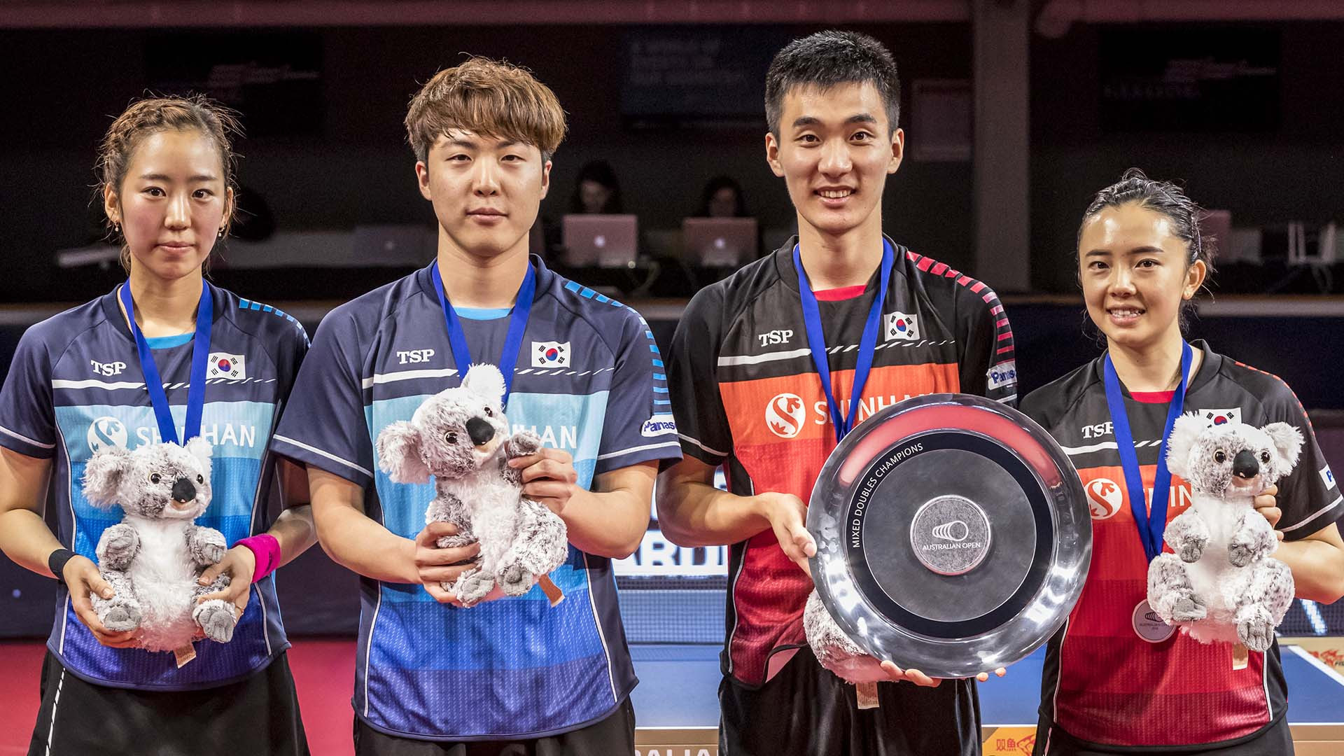 Top seeds Lee Sang-su and Jeon Ji-hee fought back from a game down to beat compatriots Lim Jong-hoon and Yang Hae-un to secure the mixed doubles title at the ITTF Australian Open ©ITTF/APAC Sport Media