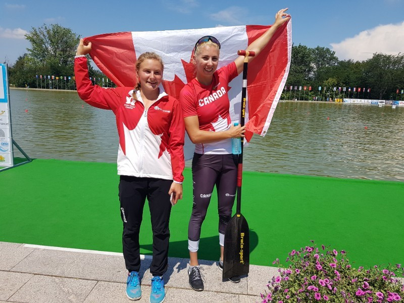 Canada's Katie Vincent, right, and Sophia Jensen, left, each won their second gold medals of the competition today at the ICF Under-23 and Canoe Sprint World Championships in Plovdiv ©ICF