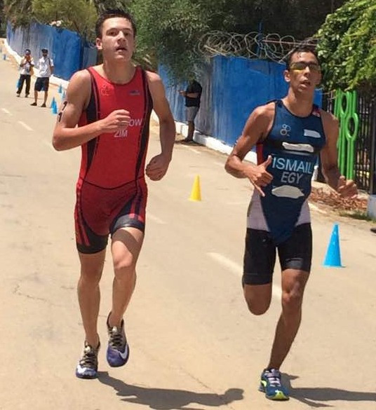 Siefeldin Ismail, right, won gold in the boys' triathlon today to help Egypt finish top of the medals table for the second African Youth Games in a row ©Twitter/Steve Vickers