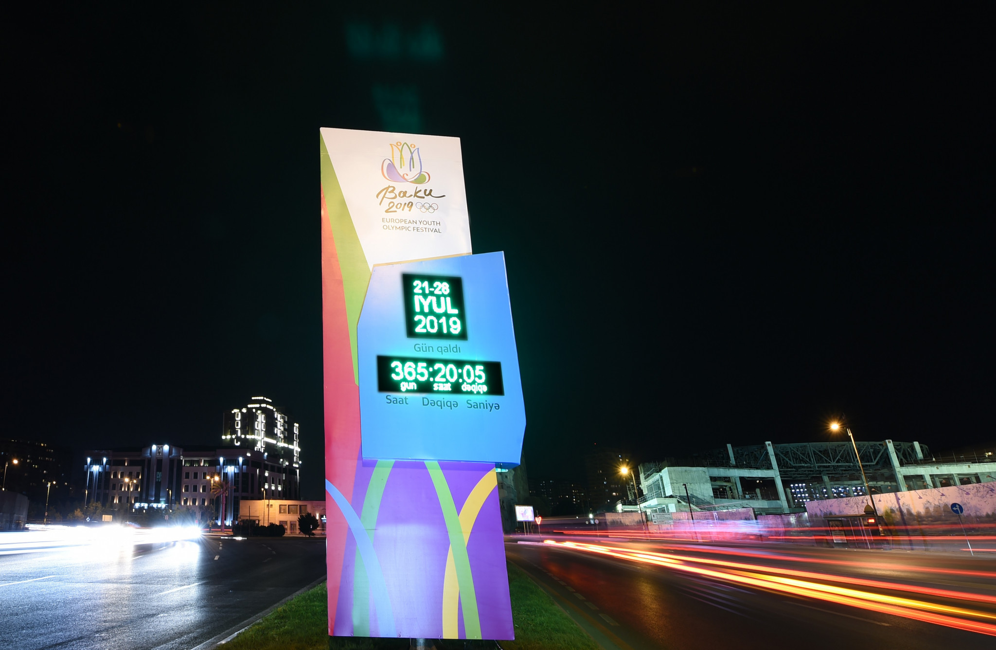 A clock sits in the centre of Baku counting down until the festival begins, on July 21, 2019 ©Baku 2019