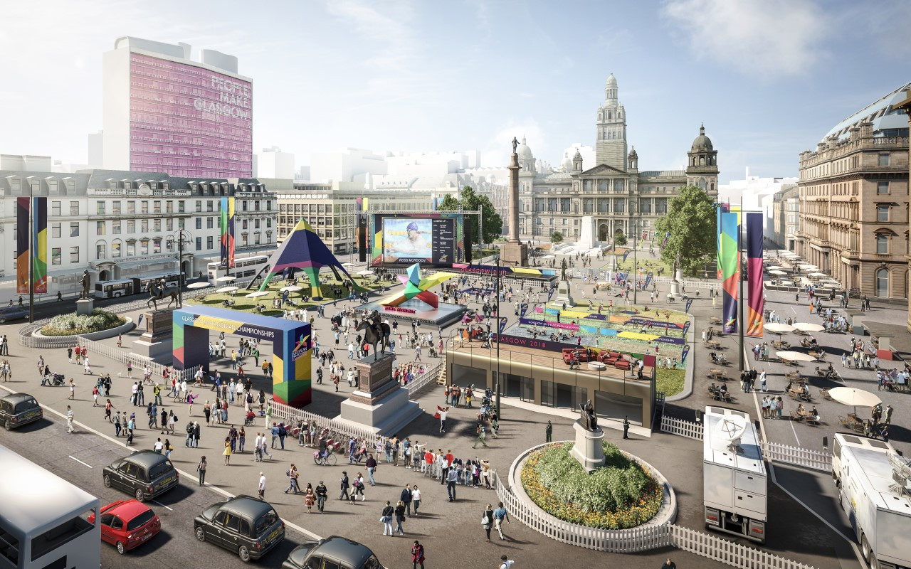 A projected view of the centre of Glasgow during next month's staging of the multi-sports European Championships ©European Championships