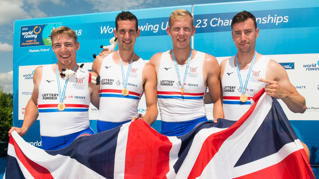 The men's quadruple sculls boat was one of three British gold medallists on the final day of the World Rowing Under-23 Championships in Poznan, Poland © British Rowing