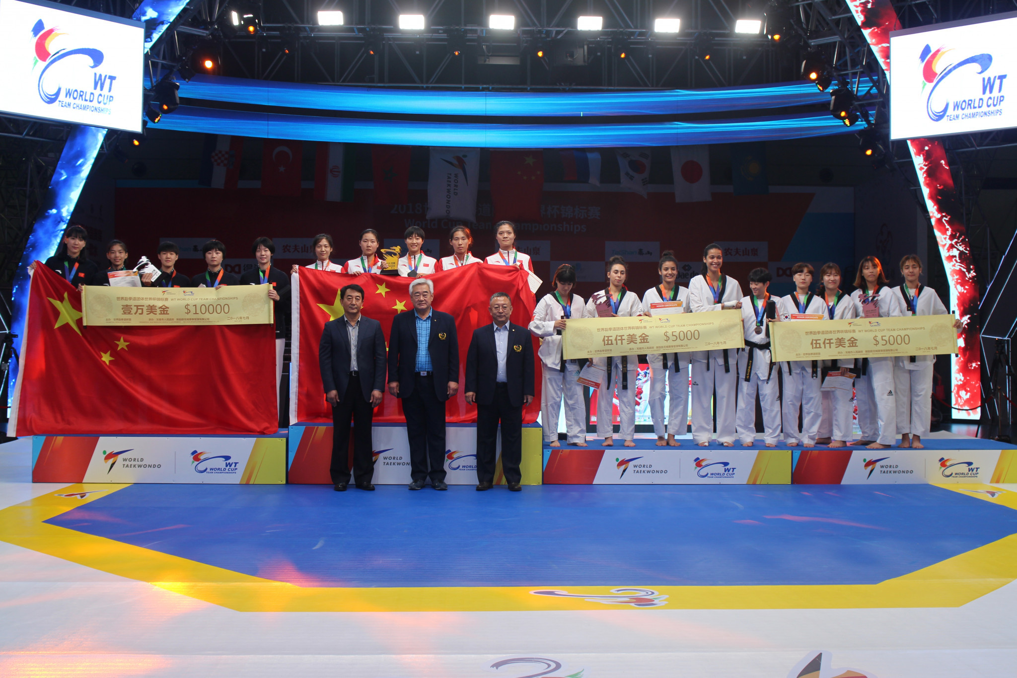 The awarding ceremony at the World Taekwondo World Cup Team Championships in Wuxi © World Taekwondo