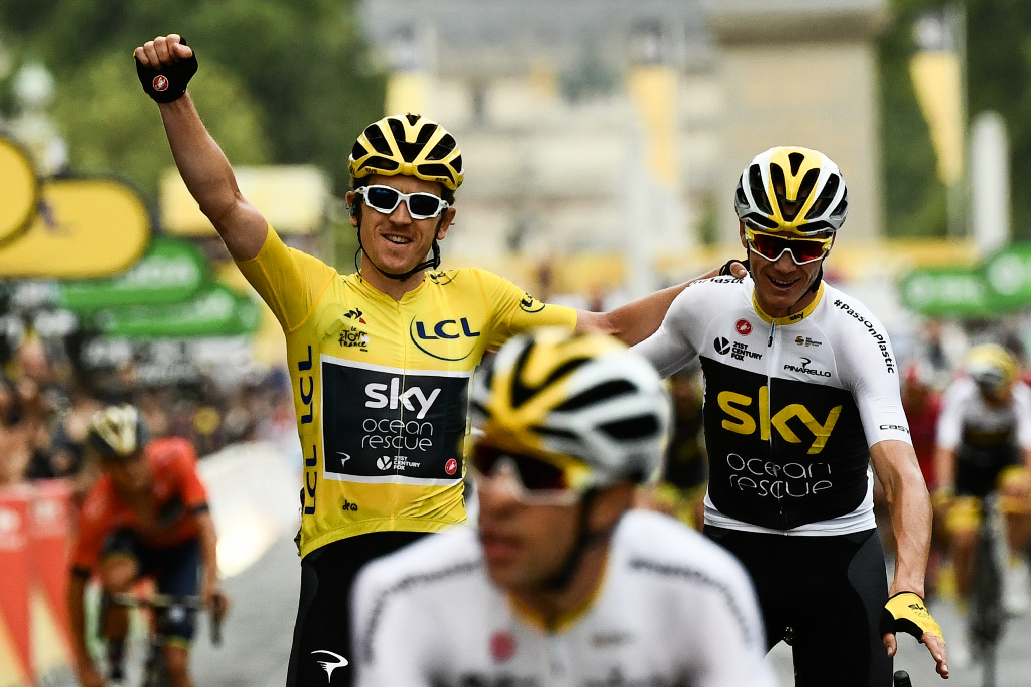 Geraint Thomas  has become the third British rider in seven years to win the Tour de France after finishing the final stage in Paris alongside teammate Chris Froome today ©Getty Images