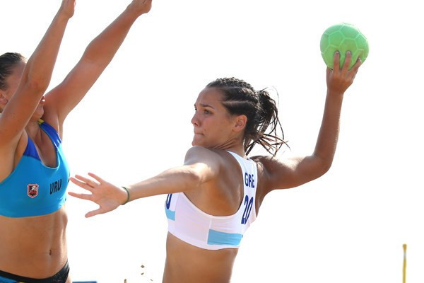The Greek women's team has won the beach handball world title on its debut in the event ©IHF