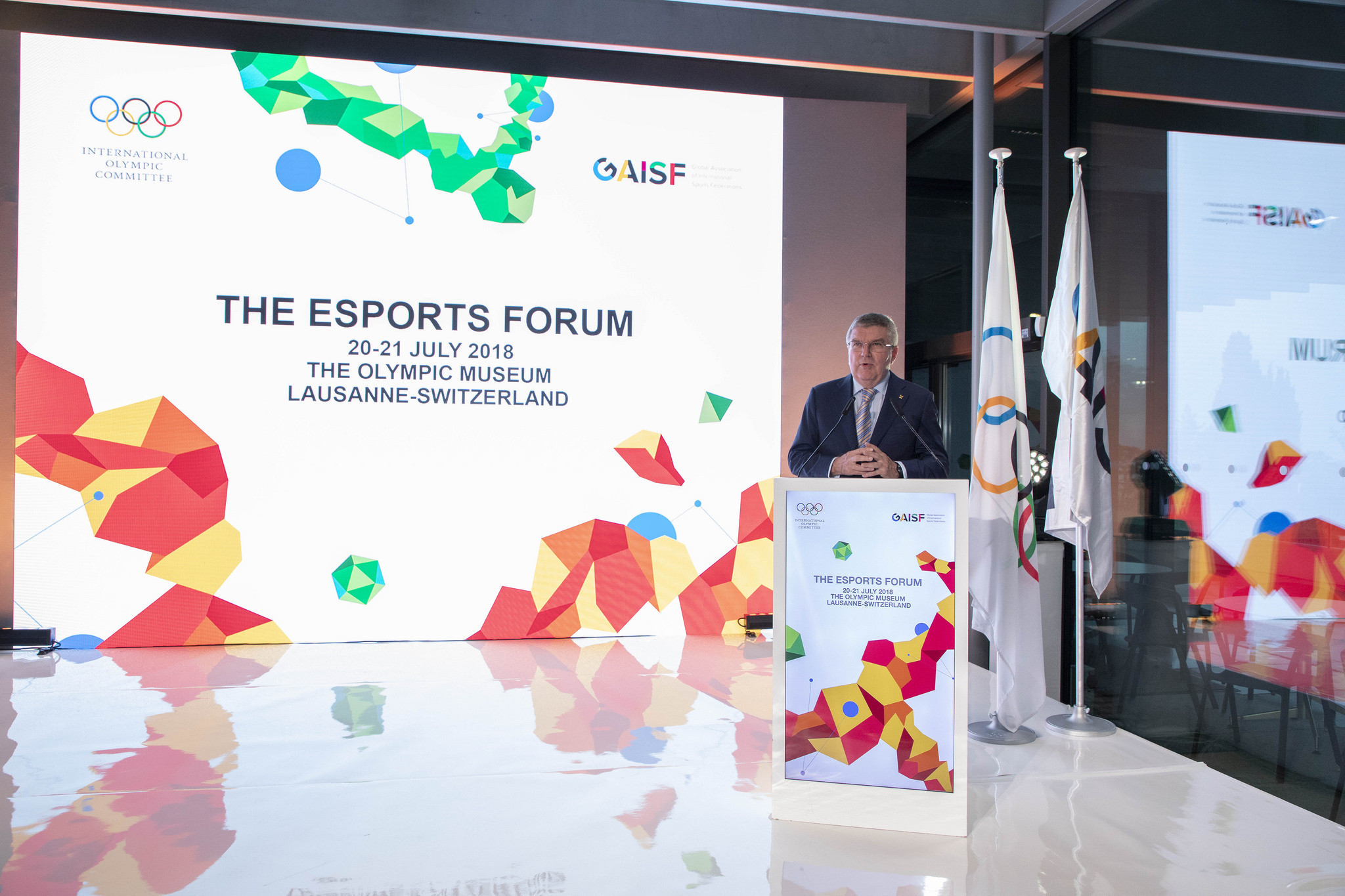 IOC President Thomas Bach speaking at an esports Forum in Lausanne ©IOC